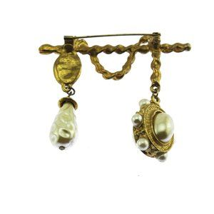 Vintage Jewelry - Gold Rope and Pearl Dangle Brooch